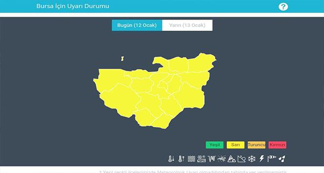 Meteorolojiden Bursa için 'sarı' uyarı